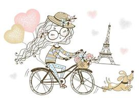 Girl rides a bike with her dog in Paris. vector