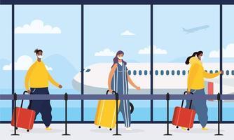 viajeros esperando en el aeropuerto para tomar un vuelo. vector