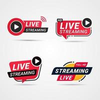 Live Streaming button, badge set vector