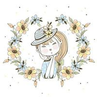 Cute girl in a frame of flowers. vector