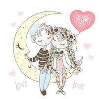 niño y niña enamorados sentados en la luna