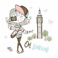 Cute tourist girl with a camera in London. vector