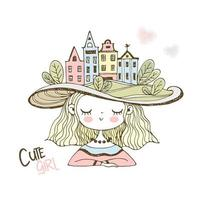 Cute girl in a hat with European houses