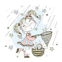 A cute girl catches falling stars with a net. vector