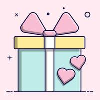 Cute gift andhearts, flat design vector