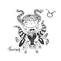 Zodiac sign Taurus. Funny children's horoscope vector