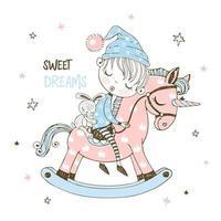 niño duerme dulcemente en un caballo de juguete. vector