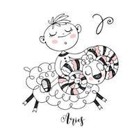 Children's zodiac. The zodiac sign Aries. Little boy