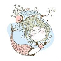 Children's zodiac. The zodiac sign Pisces. Mermaid