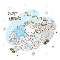 Baby boy is sleeping sweetly on a sheep. vector