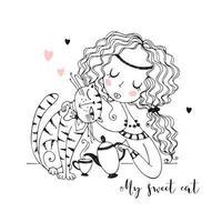 linda chica con un gato bebiendo té
