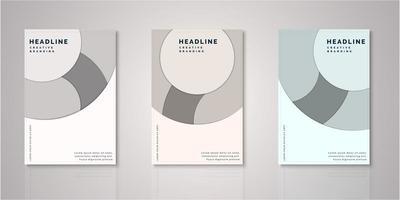 Set of circle paper cut design covers vector