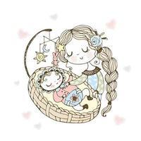 mamá pone al bebé a dormir vector