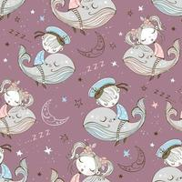 patrón sin fisuras de niños lindos durmiendo en ballenas