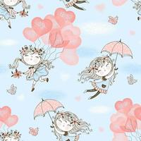 Cute girls flying on balloons and umbrellas
