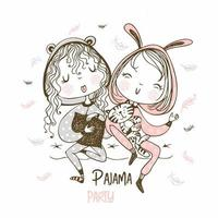 Girls having fun at a pajama party vector