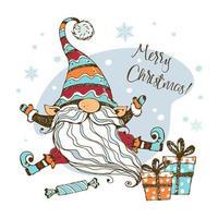 tarjeta de navidad con lindo gnomo nórdico vector