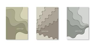 Set of wavy paper cut layers covers vector
