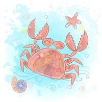 Cute crab in the sea. Marine life vector