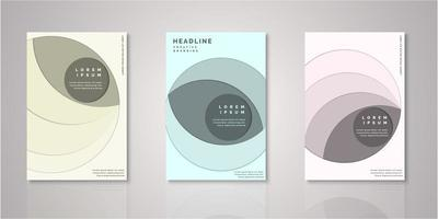 Set of geometric shape paper cut covers vector