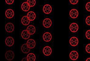 telón de fondo rojo oscuro con símbolos misteriosos.