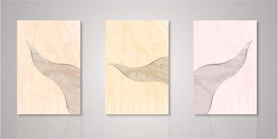 Set of abstract cutout watercolor covers