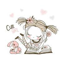 A cute little girl is reading a book vector