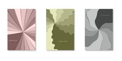 Set of pinwheel layers paper cut covers vector