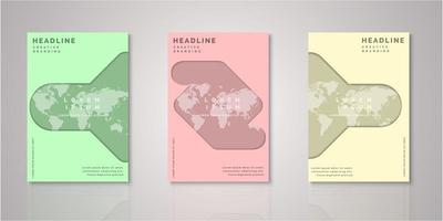 Set of abstract shape world map paper cut covers vector
