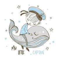A little sailor boy sleeps on a whale vector