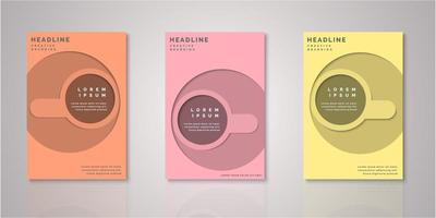 Set of circular paper cut design covers vector