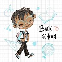 Cute boy goes to school. Back to school