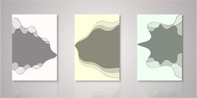 Set of abstract shape paper cut layers covers vector