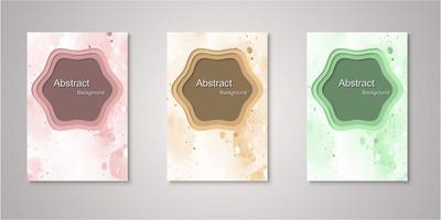 Set of abstract shape watercolor covers vector