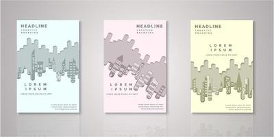 Set of paper cut city skyline covers vector