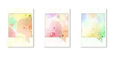 Set of watercolor speech bubble covers vector