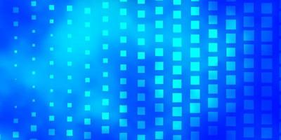 Blue backdrop with rectangles.