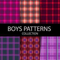 conjunto de patrones de cuadros de leñador vector
