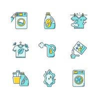 Laundry types icons set.