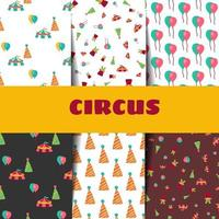 Circus pattern set in doodle style. vector