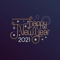 feliz año nuevo 2021 tipografía para tarjeta de felicitación