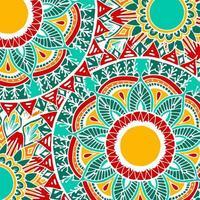 Colorful boho style flower mandala background vector