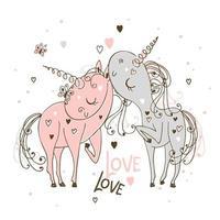 unicornios enamorados el uno del otro vector