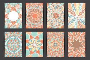 Flower mandala pattern card set vector