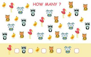 How many worksheet page with animals in cartoon style vector
