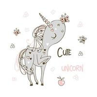 Sweet cute unicorn playing with butterflies