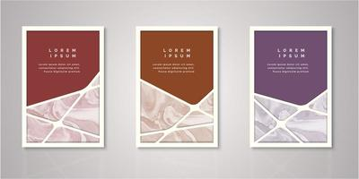 Set of geometric stripe watercolor covers vector