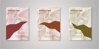 Set of abstract ripped shape watercolor covers vector