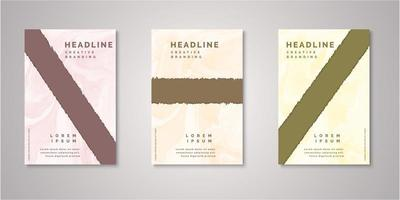 Set of angled ripped shape watercolor covers vector