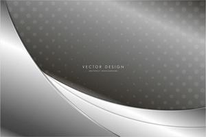 Paneles curvos plateados metalizados con patrón de puntos vector